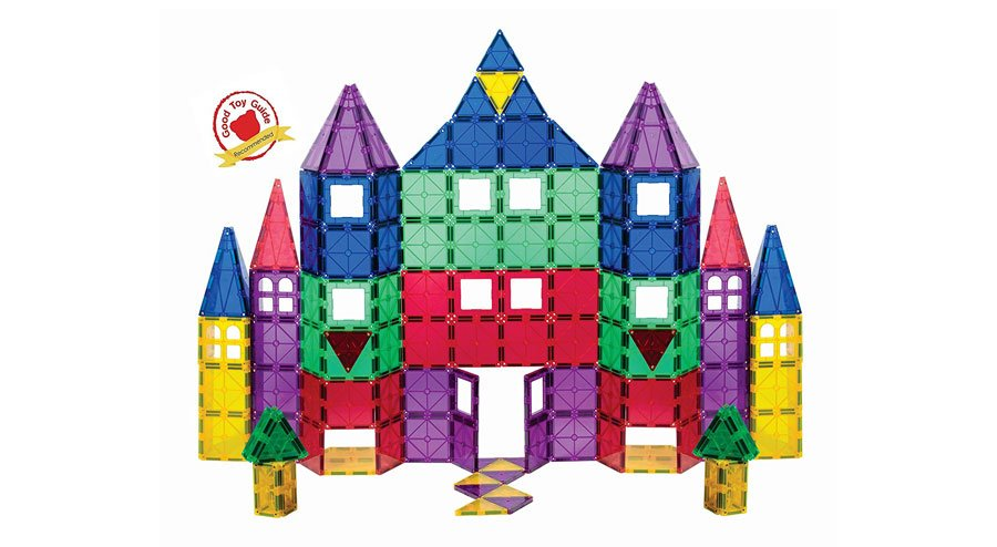 Playmags 100-piece Clear Color Magnetic Tiles Deluxe Building Set